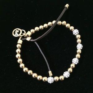 Michael Kors Gold-tone/ Pave Ball Stretch Bracelet